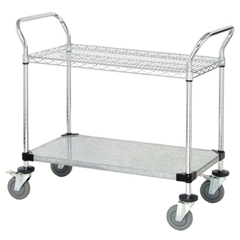 QNTWRC-1848-2CG-EA - Quantum Storage Systems - 1 Wire Shelf & 1 Solid Shelf Mobile Utility Cart