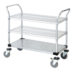 QNTWRC-2436-3CG-EA - Quantum Storage Systems2 Wire Shelf & 1 Solid Shelf Mobile Utility Cart