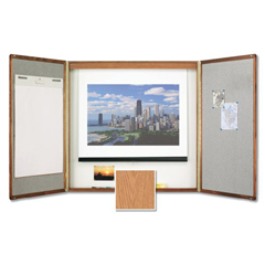 QRT853 - Quartet® Marker Board Cabinet with Projection Screen