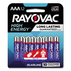 RAY82412K - High Energy Premium Alkaline Battery, AAA, 12/Pack