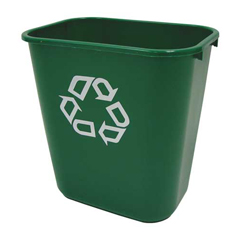 RCP2956-06GRE - Deskside Plastic Container for Paper Recycling