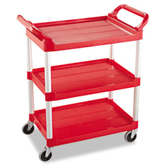 RCP3424-88RED - Three-Shelf Service Cart