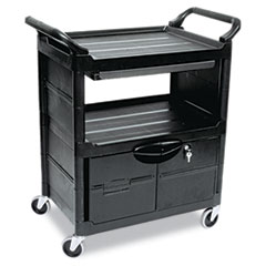RCP345700BLA - Rubbermaid Commercial® Utility Cart with Locking Doors