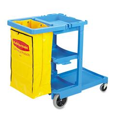 RCP6173-88BLU - Multi-Shelf Cleaning Cart