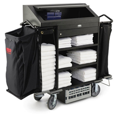RCP9T64 BLA - Deluxe High-Security Housekeeping Cart