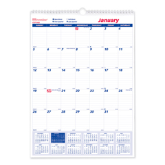 REDC171102 - Brownline® Twin Wirebound Wall Calendar, One Month per Page