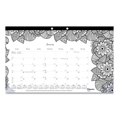 REDC2917001 - Blueline® Monthly Desk Pad Calendar with Coloring Pages