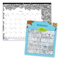 REDC2917311 - Blueline® Monthly Desk Pad Calendar with Coloring Pages