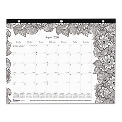 REDCA2917211 - Blueline® Monthly Desk Pad Calendar with Coloring Pages