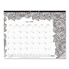 REDCA2917311 - Blueline® Monthly Desk Pad Calendar with Coloring Pages