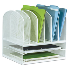 SAF3255WH - Safco® Onyx™ Mesh Desk Organizer With Two Horizontal/Six Upright Sections