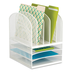 SAF3266WH - Safco® Onyx™ Mesh Desk Organizer with Five Vertical/Three Horizontal Sections