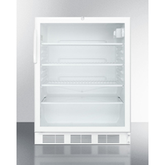 SMASCR600LBIADA - Summit ApplianceAccucold Medical® ADA Compliant Commercially Listed Built-In Undercounter Glass Door All-Refrigerator with White Cabinet and Front Lock