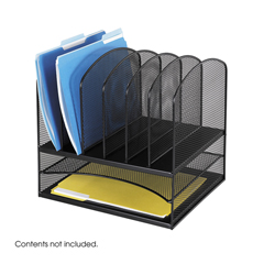 SFC3255BL - SafcoOnyx™ Mesh Desk Organizer With Two Horizontal/Six Upright Sections
