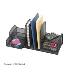 SFC3263BL - SafcoOnyx™ Mesh Desk Organizer with Three Vertical Sections/Two Baskets