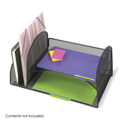 SFC3264BL - SafcoOnyx™ Mesh Desk Organizer with Two Vertical/Two Horizontal Sections