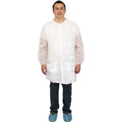 SFZDLWH-2X-E-EW - Safety Zone - White Polypropylene Economy Lab Coat, 3 Pockets, Elastic Wrists
