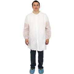 SFZDLWH-XL-ENP-EW - Safety Zone - White Polypropylene Economy Lab Coat, No Pockets, Elastic Wrists