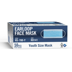SFZRS-700-y - Safety Zone - Youth Size Procedural Mask- Pleated Ear Loop