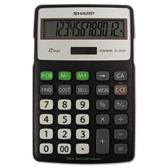 SHRELR287BBK - Sharp® EL-R287BBK Recycled Series Semi-Desk Display Calculator with Kick-stand