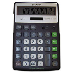 SHRELR297BBK - Sharp® EL-R297BBK Recycled Series Semi-Desk Display Calculator with Kick-stand