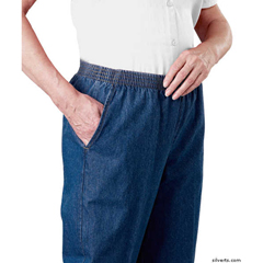 SIL130300104 - Silverts - Arthritis Elastic Waist Pull On Jean Pants For Women With 2 Pockets