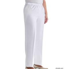 SIL130911704 - Silverts - Womens Elastic Waist Polyester Pants 2 Pockets