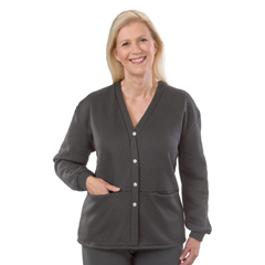 SIL232511006 - Silverts - Womens Open Back Adaptive Fleece Cardigan With Pockets