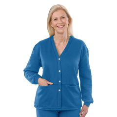 SIL232501103 - Silverts - Womens Open Back Adaptive Fleece Cardigan With Pockets