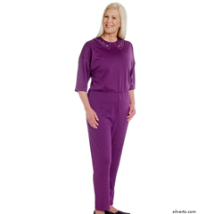 SIL233300205 - Silverts - Womens Adaptive Alzheimers Clothing Anti Strip Suit Jumpsuit