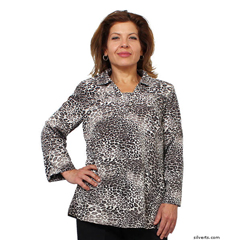 SIL235040501 - Silverts - Adaptive Fashion Print Open Back Blouses