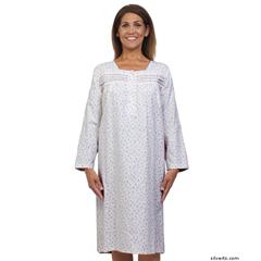 SIL263010102 - SilvertsWomens Pretty Flannel Long Sleeve Hospital Patient Gowns
