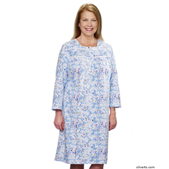 SIL263010202 - SilvertsWomens Pretty Flannel Long Sleeve Hospital Patient Gowns