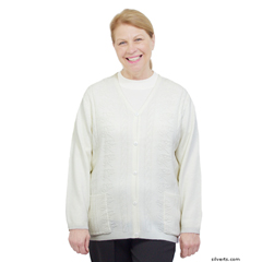 SIL270800405 - Silverts - Adaptive Open Back Warm Weight Cardigan Sweater With Pockets