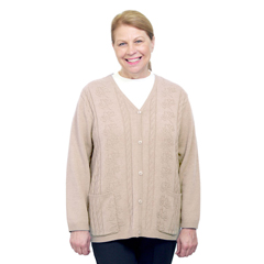 SIL270800503 - Silverts - Adaptive Open Back Warm Weight Cardigan Sweater With Pockets