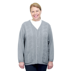 SIL270801305 - Silverts - Adaptive Open Back Warm Weight Cardigan Sweater With Pockets