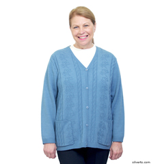 SIL270802204 - Silverts - Adaptive Open Back Warm Weight Cardigan Sweater With Pockets
