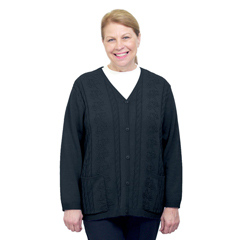 SIL270812306 - Silverts - Adaptive Open Back Warm Weight Cardigan Sweater With Pockets