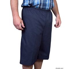 SIL500400205 - Silverts - Mens Elastic Waist Cotton Adaptive Shorts
