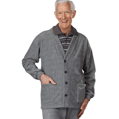 SIL500700405 - Silverts - Adaptive Fleece Cardigan With 2 Pockets