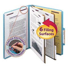 SMD14030 - Smead® 6-Section Colored Pressboard Top Tab Classification Folders with SafeSHIELD™ Coated Fastener