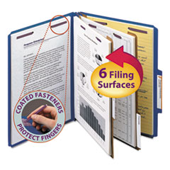 SMD14032 - Smead® 6-Section Colored Pressboard Top Tab Classification Folders with SafeSHIELD™ Coated Fastener