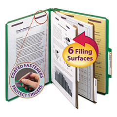 SMD14033 - Smead® 6-Section Colored Pressboard Top Tab Classification Folders with SafeSHIELD™ Coated Fastener