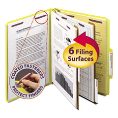 SMD14034 - Smead® 6-Section Colored Pressboard Top Tab Classification Folders with SafeSHIELD™ Coated Fastener