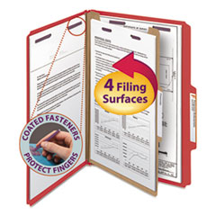 SMD18731 - Smead® 4-Section Pressboard Top Tab Classification Folders w/SafeSHIELD™ Coated Fastener