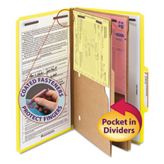 SMD19084 - Smead® 6-Section Pressboard Top Tab Pocket-Style Classification Folders with SafeSHIELD™ Coated Fastener