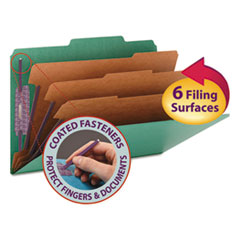 SMD19097 - Smead® Colored Pressboard 8-Section Top Tab Classification Folders with SafeSHIELD™ Coated Fastener