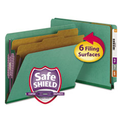 SMD26785 - Smead® Colored Pressboard End Tab Classification Folders w/SafeSHIELD™ Coated Fasteners