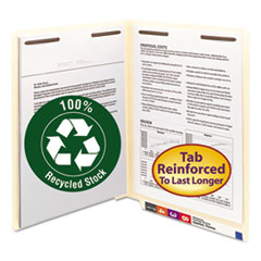 SMD34160 - Smead® 100% Recycled Manila End Tab Folders with Fasteners