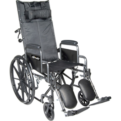 SSP16RBDFA - Drive MedicalSilver Sport Reclining Wheelchair with Full Arms and Elevating Leg Rest